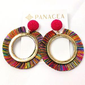 NWT Large Panacea Dangle Hoop Colorful Earrings